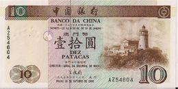 MACAU=1995   10  PATACAS     P-90    UNC - Macau