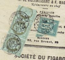 """Le Figaro Du 10 Mars 1877 ( G=bande  De 3 Ceres De 1 C  Dont 1 Coupé Et Un """" Paix Et Commerce De 1 C ) - Journaux"""