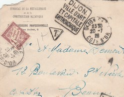 LETTRE NON AFFRANCHIE TAXEE A BEAUNE 1F + DAGUIN DIJON 20/7/28 -                                                  TDA114 - 1859-1955 Covers & Documents