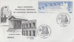 Enveloppe  FDC  Vignette  LISA   Congrés  Régional  Du  LANGUEDOC  ROUSSILLON   NIMES  1990 - 1990 «Oiseaux De Jubert»