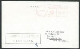 SOLOMON IS 1974 Official Cover To NZ, Honiara OHMS Meter...................11419 - Iles Salomon (...-1978)