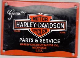 Plaque Emaillee Moto Cycle Moteur Publicite Atelier  Harley Davidson Ancienne Genuine  14 Cm Par 10 Cm Motor Cycle - Brands