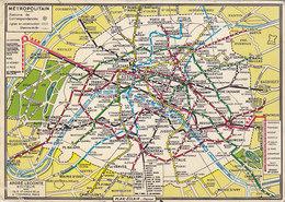 Paris Metropolitan Map Postcard 1979 - Subway