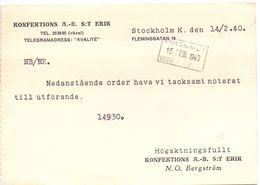 Briefkaart Carte Postale Brevkort - Konfektions Erik Stockholm 1940 - Postal Stationery