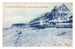 CPA   76  POURVILLE---LA PLAGE---LA JETEE-PROMENADE ET LES CHALETS - Frankrijk