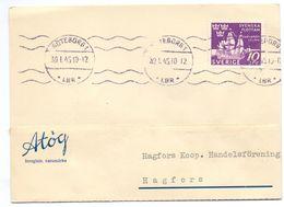 Briefkaart Carte Lettre Brevkort Trycksak - Atög Chokladfabrik Göteborg  - Till Hagfors Sverige Suède Zweden 1945 - Postal Stationery