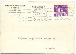 Briefkaart Carte Lettre Brevkort - Alkvist & Andersson Örebro - Till Hagfors Sverige Suède Zweden 1945 - Postal Stationery
