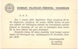 Briefkaart Carte Lettre Brevkort - Sveriges Filatelist  Stockholm - Till Hagfors Sverige Suède Zweden 1942 - Postal Stationery