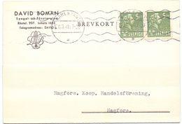 Briefkaart Carte Lettre Brevkort Trycksak - David Boman Karlstad  Till Hagfors Sverige Suède Zweden 1940 - Entiers Postaux