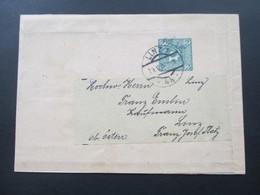 Österreich 1908 Streifband 2 Heller Grün! Privatganzsache / Privatausgabe? Linz 1 - 1850-1918 Imperium