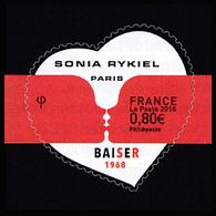 """Saint Valentin. Cœur De Sonia Rykiel. Autoadhésifs. Composition Avec 2 Visages Stylisés S'embrassant Et La Mention """"Bais - France"""