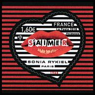 """Saint Valentin. Cœur De Sonia Rykiel. Autoadhésifs. Composition Avec Une Bouche Et Le Mention """"S'aimer"""". - France"""