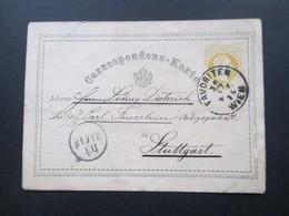Österreich 30.12.1875 Ganzsache Stempel K1 Favoriten Wien Nach Stuttgart Indigogeschäft. Prosit Neujahr! - 1850-1918 Imperium