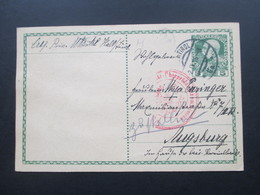 Österreich Ganzsache 1916 Zensurpost 1.WK Überprüfungskommission. Nach Augsburg. Handschriftl. Vermerk - Briefe U. Dokumente