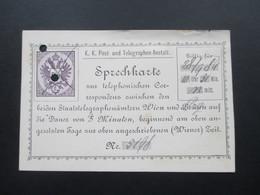 Österreich Ganzsache 1889 Sprechkarte Zur Telephonischen Correspondenz Zwischen Wien Und Prag! Gelocht! - 1850-1918 Imperium
