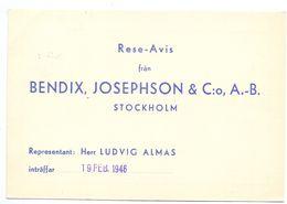 Briefkaart Carte Lettre Brevkort Trycksak - Bendix Josephson Stockholm   Till Hagfors Sverige Suède Zweden 1946 - Postal Stationery