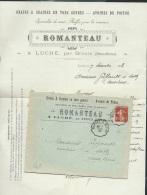 """LAC ,  1908 , Oblitération Ambulant Ruffec à Niort , + Entète """"Romanteau à Luché Par Brioux ( 79 )   - AX 13101 - Spoorwegpost"""