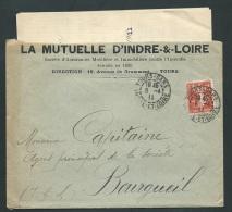 Oblitération Cad  Tours Gare     ( 37 ) SUR Lac Pour Bourgueil  En 1911   AX 13122 - 1877-1920: Semi-moderne Periode