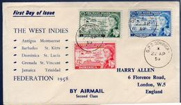 West Indies 1958 Scarce Early FDC GPO-DOMINCA (203) - Dominica (...-1978)