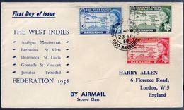West Indies Antigua 1958 Scarce Early FDC Cancel BARBADOS (204) - Barbades (...-1966)