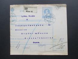 Österreich Ganzsache 1916 Paketkarte Wien 85 Nach Ungarn Szekesfehervar Mit 6 Stempel - Briefe U. Dokumente