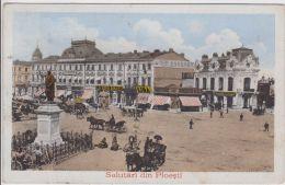 AK - Rumänien   - PLOIESTI - Marktplatz Mit Pfederfuhrwerken 1924 - Rumänien