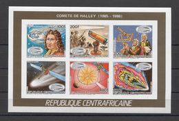 Central Africa Comet Halley Space L'espace Weltraum 1986 COLL. IMP.  MNH - Espace
