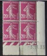 Semeuse 20 C. Rose 190 En Bloc De 4 Coin Daté - 1906-38 Semeuse Camée