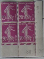 Semeuse 20 C. Rose 190 En Bloc De 4 Coin Daté - 1906-38 Säerin, Untergrund Glatt