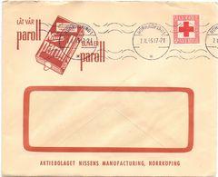 Enveloppe Kuvert - Pub Reklam Nissens Paroll Norrköpping  - Till Hagfors Sverige Suède Zweden 1945 - Suède