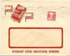 Enveloppe Kuvert - Pub Reklam Nissens Paroll Norrköpping  - Till Hagfors Sverige Suède Zweden 1943 - Suède