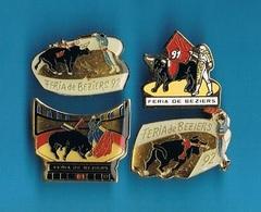 4 PIN'S  //   ** FÉRIA DE BÉZIERS / 92' ** - Bullfight - Corrida