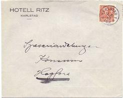 Enveloppe Kuvert - Pub Reklam  Hotell Ritz Karlstad - Till Hagfors Sverige Suède Zweden 1940 - Suède
