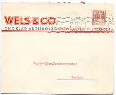 Enveloppe Kuvert - Pub Reklam Choklad Wels & Co Stockholm - Till Hagfors Sverige Suède Zweden 1941 - Suède