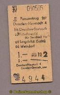L07) Pappfahrkarte DR --> Dresden Neustadt 4 - Dresden Stretzsch (1965) - Europa