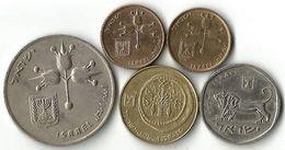 Lot 5  Pièces De Monnaie  5 -10 Agorot 1/2 Shekel Et 1 Lira - Israel