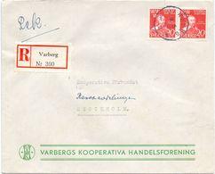 Enveloppe Kuvert Recommandé - Pub Reklam Varberg - Till Hagfors Sverige Suède Zweden 1945 - Suède