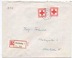 Enveloppe Kuvert Recommandé - Pub Reklam Nyköping 1 - Till Hagfors Sverige Suède Zweden 1945 - Suède