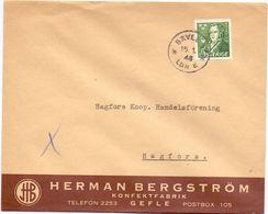 Enveloppe Kuvert  - Pub Reklam Konfektfabrik Herman Bergström Gefle - Till Hagfors Sverige Suède Zweden 1948 - Suède