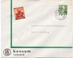 Enveloppe Kuvert  - Pub Reklam Konsum Leksand- Till Hagfors Sverige Suède Zweden 1947 - Suède