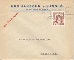 Enveloppe Kuvert  - Pub Reklam Uno Jansohn Nässjo  - Till Hagfors Sverige Suède Zweden 1941 - Suède