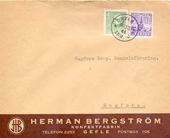 Enveloppe Kuvert  - Pub Reklam Konfektfabrik Herman Bergström Gefle Gävle - Till Hagfors Sverige Suède Zweden 1941 - Suède