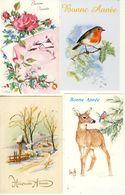 Lot De 8 Mignonnettes Bonne Année Paysages De Neige Fleurs Faon Oiseau - New Year