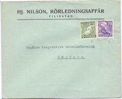 Enveloppe Kuvert  - Pub Reklam Hj. Nilson Filipstad - Till Hagfors Sverige Suède Zweden - Suède