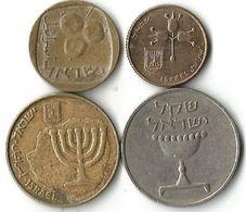 Lot 4  Pièces De Monnaie  5 -10 Agorot    Et 1 Shekel - Israel
