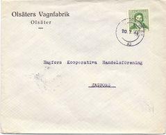 Enveloppe Kuvert  - Pub Reklam Olsäters Vagnfabrik - Olsäter - Till Hagfors Sverige Suède Zweden 1943 - Suède