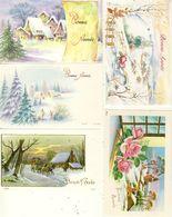 Lot De 5 Mignonnettes Bonne Année Paysages De Neige Diligence Lapins Fleurs - New Year