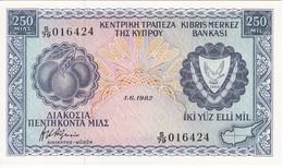 BILLETE DE CHIPRE DE 250 MILS DEL AÑO 1982 SIN CIRCULAR - UNCIRCULATED (BANKNOTE) - Chipre