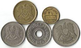Lot 5 Pièces De Monnaie - Egypte