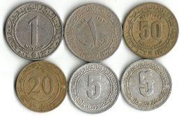 Lot 6 Pièces De Monnaie 5-  20 - 50  Centimes Et 1 Dinar - Algérie